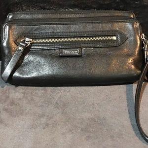 Coach Black Leather Double Compartment Wristlet